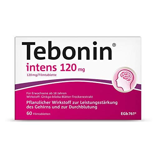 Tebonin intens 120mg gegen Schwindelgefühle – Pflanzliches Arzneimittel mit Ginkgo-Premiumextrakt(R) – 60 Filmtabletten