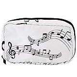 Bolsas de cosméticos con notas musicales, color negro y blanco, práctico neceser, bolsa de viaje para mujeres y niñas