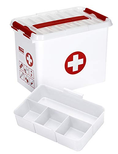 SUNWARE Q-Line Erste Hilfe Box + 1 Einsatz - 9 Liter - 300 x 200 x 220mm - weiß/transparent/rot