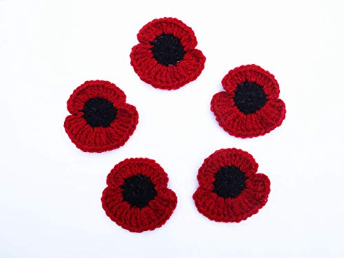5 Poppy Brooches Pin, Remembrance Day Poppy Brooch, Handmade Crochet Poppy Brooch