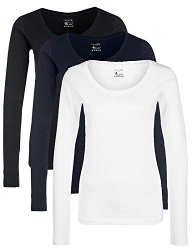 Berydale Damen für Sport & Freizeit, Rundhalsausschnitt Langarmshirt, 3er Pack, Mehrfarbig (Schwarz/Weiß/Navy), XS