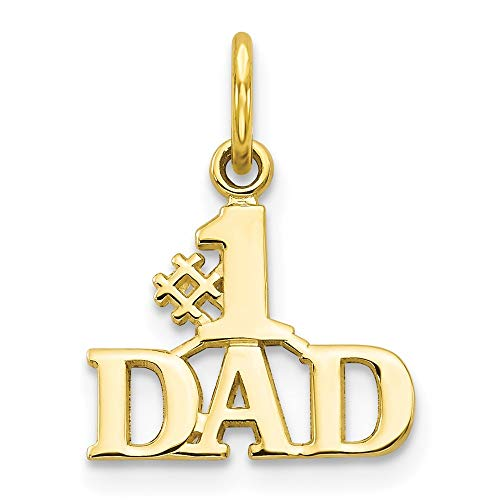 10k Yellow Gold #1 Dad Pendant Charm Necklace Fine Jewelry For Dad Mens Gifts For Him