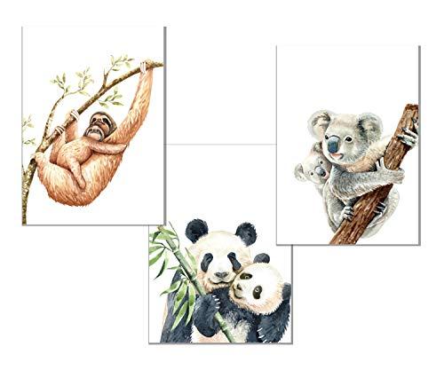 RAIYARI 3er-Sets Kinderzimmer Poster für Mädchen und Jungen - Babyzimmer Bild Deko DIN A4 - Wandbilder mit Tiermotiven - Kinderzimmer Dekoration ohne Rahmen (Dschungeltiere)