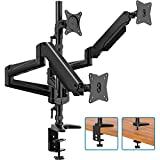 Triple Monitor Stand - Full Motion Aluminum Gas Spring Monitor Mount Fit Three 17 to 32 inch LCD Computer Screens with Clamp, Grommet Kit (Black)