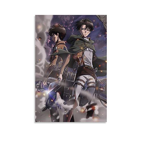 Poster d'animation L'attaque des Titans Shingeki No Kyojin - Art sur toile - Décoration murale moderne pour chambre de famille - 30 x 45 cm
