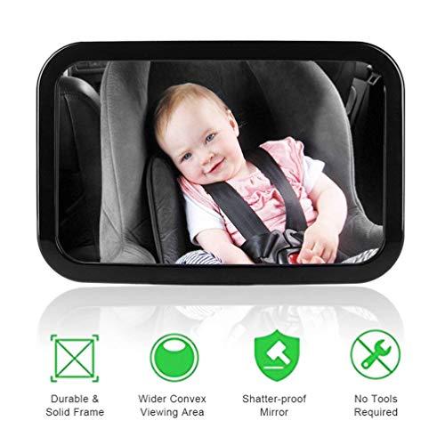 Yhomie Rücksitzspiegel für Babys Bruchsicherer Auto-Rückspiegel für Babyschale mit großem Sichtfeld und 360° schwenkbar n universeller Passform