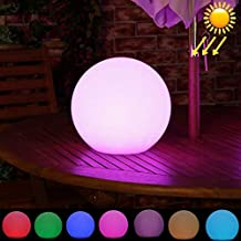 Yadianna Outdoor Lighting 30cm Round Ball Solar Power Floating Garden Changing Colorful LED Light Lamp with 0.8W Monocrystalline Silicon Solar Panel Beautiful Light