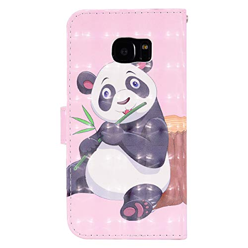VQWQ Funda con Tapa para Samsung Galaxy S6 - Flip Cover con Soporte y Tarjetero Piel Funda Patrón Pintado Magnét Billetera Plegable Case para Samsung Galaxy S6 [Animal] -Panda