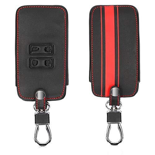 kwmobile Autoschlüssel Hülle kompatibel mit Renault 4-Tasten Smartkey Autoschlüssel (nur Keyless Go) - Kunstleder Schutzhülle Schlüsselhülle Rallystreifen Sidelines Rot Schwarz