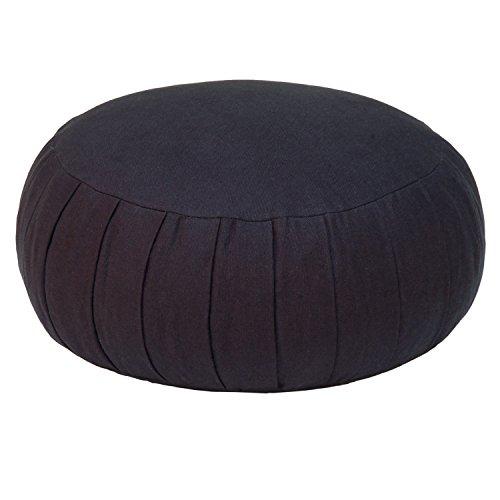Meditationskissen ZAFU BASIC (Dinkel), schwarz, klassisches Sitzkissen für die Meditation im Yoga, für Zen Meditation und andere Sitzmeditation, ca. 32 x 17 cm