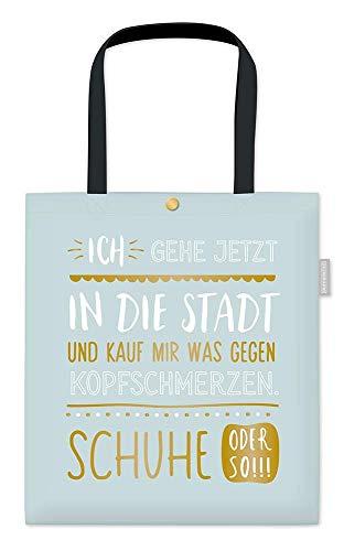 Grafik-Werkstatt Damen Baumwoll-Beutel mit lustigem Spruch Tasche mit Verschluss | Schuhe, Hellblau, ca. 39 x 44 cm ohne Henkel