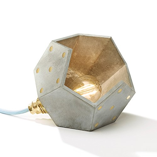 Magnetic modular table lamp basic twelve made out of concrete with light blue cable