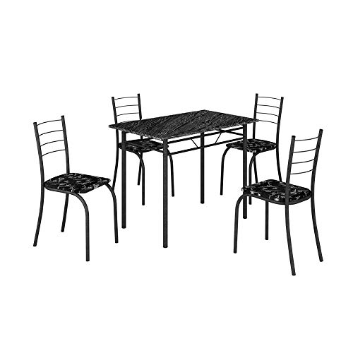 Conjunto Mesa Com 4 Cadeiras Para Cozinha Craqueada Preta