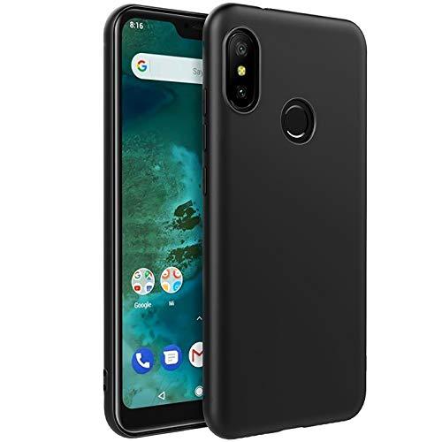 Verco Kompatibel mit Xiaomi Mi A2 Lite Hülle, Matte Rückschale Schutzhülle für Xiaomi Mi A2 Lite Case Silikon Handyhülle - Schwarz