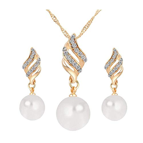 NaisiCore 3pcs / Set Collar de Las Mujeres Pendientes establecidas Boda clásica de Platino Chapado en Oro de joyería de Perlas Conjunto de joyería Tornillo de los Pendientes del Collar de Oro