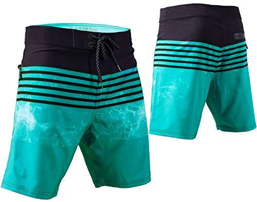 AZTRON Onda Uomo Pantaloncini Corti Board Short Wakeboard Swimshort Black - Nero/Verde, M (32)