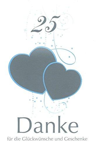 Danksagungskarten Silberhochzeit ohne Innentext Motiv silberne Herzen 10 Klappkarten DIN A6 mit weißen Umschlägen im Set Dankeskarten zur silbernen Hochzeit 25 Jahre Dankeschön Karten Danke sagen K40