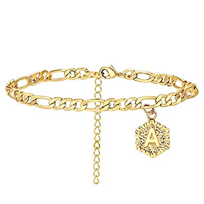 A Initial Anklet for Women Cuban Ankle Bracelet with Letter Gold Alphabet Initial Anklet for Girls