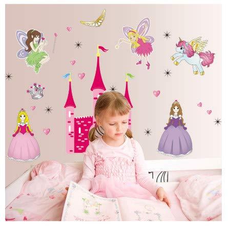 TTBH Cartoon Children Baby Nursery Room Furnished Bedroom Bedside Cartoon Stickers Angel Castle Wall Stickers