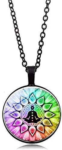 LBBYLFFF Collar de Moda Chakra Buda Collar Yoga Meditación Colgante Espiritual OM Símbolo Espoir Joyería Cadena Collar Regalos