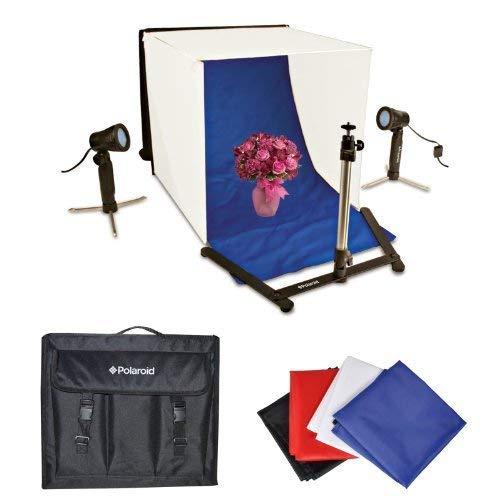 Polaroid Tragbares Fotostudio-Lichtzelt-Set mit Tischplatte, 1 Zelt, 2 Lampen, 1 Stativ, 1 Tragetaschenabdeckung, 4 Hintergründen (Schwarz, Blau, Weiß,...