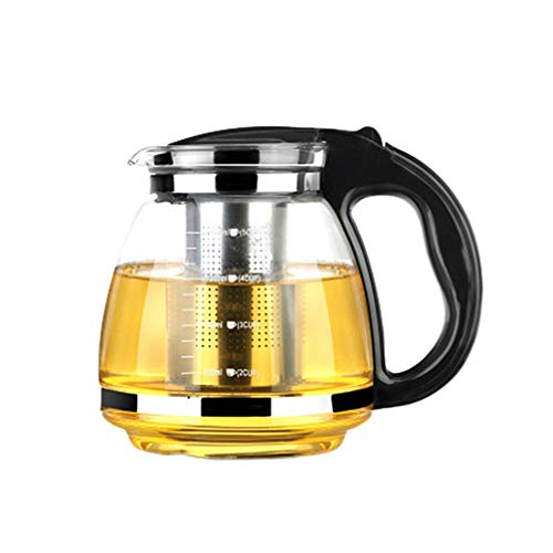 Hemoton Teiera in Vetro con Infusore Rimovibile in Acciaio Inox Piano Cottura Sicuro Bollitore per tè Teiera Bollitore per tè a Foglie Sciolte (Nero)