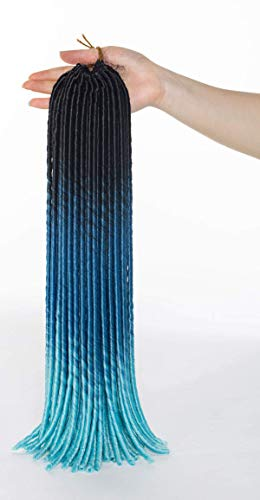 Dreadlocks Crochets Crochets Crochets Crochets Croquets Croquets Croquets 3 DLE Ombre 3 Ton, Noir au bleu foncé à pur bleu chenghuax (Color : Black to Dark Blue to Pure Blue)
