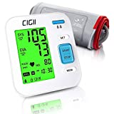 AmnoAmno Blood Pressure Monitor Cuffs for Home Use, Accurate Automatic 3 Colors Backlit Display Large LCD Upper Arm BP Machine, Two Users Mode 240 Records One-Button Operation Arrhythmia Monitoring