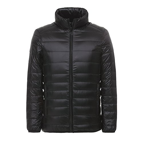 Lanbaosi Men's Ultra Light Weight Stand Collar Packable Short Down Jacket, Black, Small