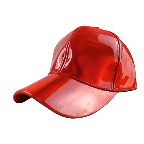 QZXQW Unisex Baseball Cap Asjustable Snapback Sport Hip Hop Sun Hats PU Leather Colorful Baseball Cap Patent Leather Rainbow Sun Hat Casual Hat 4 Seasons (Color : Red)