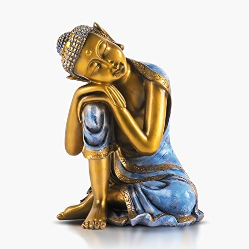 XM&LZ Antique Buddha Statue, Sleeping Buddha Sitting Sculpture Resin Bronze Figurine Decoration for Meditation Altar Art Ornaments Home Decor-b