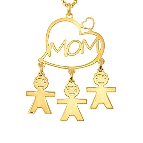 TWinkle Niño y Niña Bebé Collar Personalizado para Madre Plata de Ley 925 para Mujeres Nombres Hijos Grabados(Oro-22)