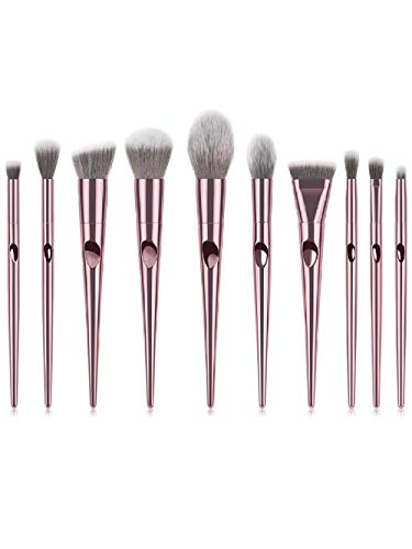 Fanxp® 10 Pcs Finger Rubber Handle Makeup Brush Sets Kits de pinceaux cosmétiques à fibres souples-Rose_Gold-White