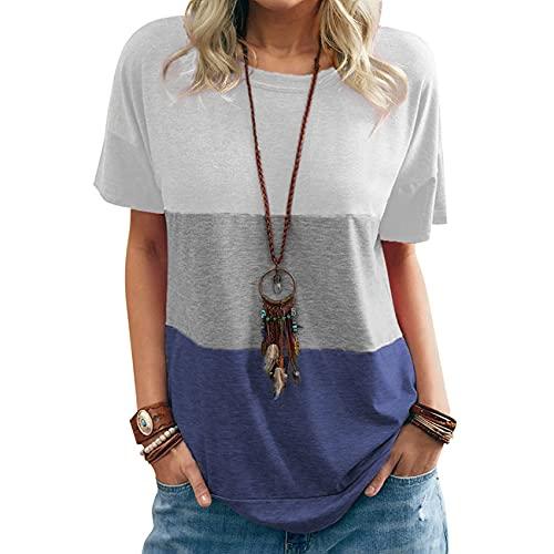 Sommerliche Damen Farblich Passenden Rundhalsausschnitt T-Shirt Mit Kurzer äRmeltasche