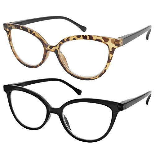 TBOC Gafas de Lectura Presbicia Vista Cansada - [Pack 2 Unidades] Graduadas +3.50 Dioptrías Montura de Pasta [Carey Ámbar + Negra] de Diseño Moda Mujer Lentes Aumento Leer Ver de Cerca Bisagra Muelle