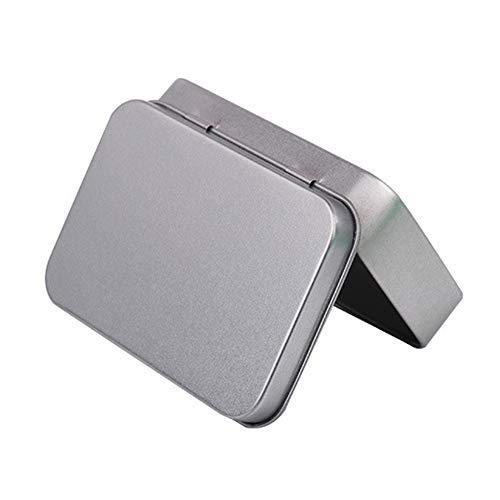 YOUNICER Caja de Metal Caja portátil Pequeña Caja de Almacenamiento Organizador de casa Caja de Lata de Plata