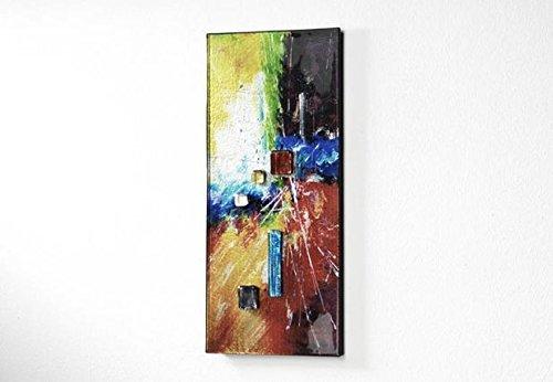 Image murale en verre rectangulaire multicolore avec verre aufgesetzten pierres