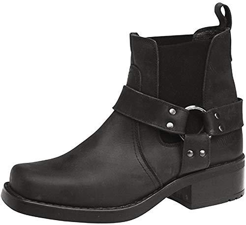 Botines de vaquero / motociclista para hombre Terminator, de cuero genuino, color Negro, talla 41 EU