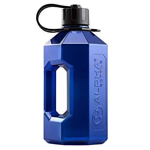 Alpha Bottle XXL - 2.4 Litre Water Jug/Gym Bottle - no BPA, Ideal for Gym, Dieting, Bodybuilding, Outdoor Sports, Hiking and Office, Half Gallon - Made in the UK from Food Safe Materials (Blue/Black)