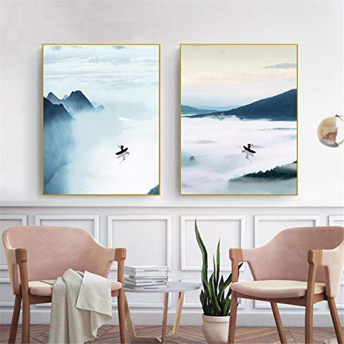KELEQI Póster Minimalista Obras de Arte Paisaje de montaña Nube Mar Arte de Pared nórdico Pintura en Lienzo Moderno para la decoración de la Sala de Estar (40x60cm) X2 Sin Marco