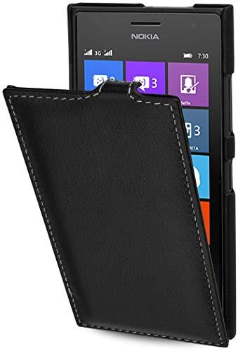 StilGut UltraSlim Case, Hülle aus Leder kompatibel mit Nokia Lumia 730 & Lumia 735, schwarz Nappa