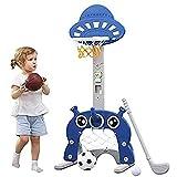 Canasta de baloncesto para niños con 1 balón de baloncesto, 1 balón de fútbol, 4 anillas, 1 bomba, 1 pelota de golf y palo de golf, altura ajustable de 111 a 151 cm, deportes de interior