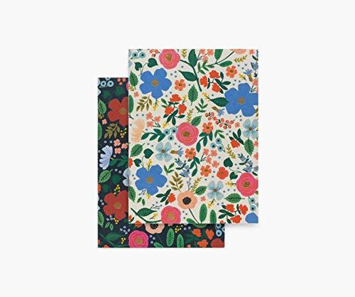 Rifle Paper Co. Wild Rose Taschen-Notizbuch-Set, 2 Notizbücher, 32 Blanko-Seiten, Metallic-Goldfolie mit Sattelstich Einband, farbig bedruckt und mit Folie gestempelt