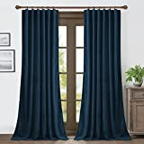 RYB HOME Blue Velvet Curtains 84 inches- Blackout Curtains for Living Room, Thermal Insulated Noise Reducing Panels Soft Luxury Window Decor for Kids Bedroom, Navy Blue, W52 x L84 inches, 2 Panels