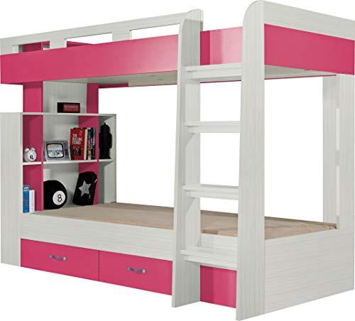 FurnitureByJDM - Stapelbed met opberglades en planken - KOMI Systeem 19 - (As / Roze)