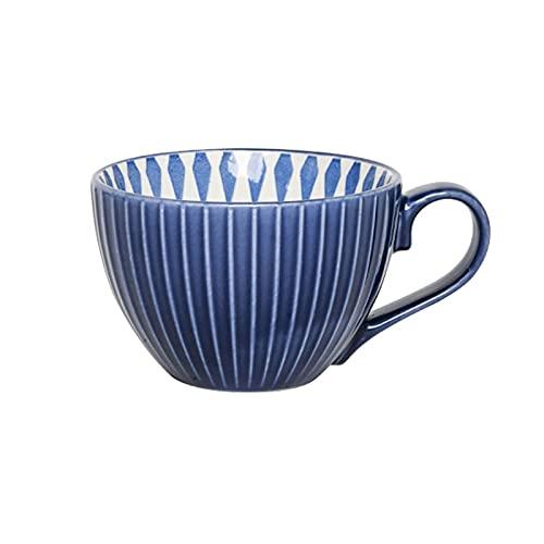 Getränkebecher Kaffeetasse,Keramik Big Belly Becher mit Milchtasse Anti-Verbrühungs-Kaffeetasse Haushaltsmilch Tee Obsttasse Müslibecher Gelb Blau Kaffeetassen (Color : B) Tassen