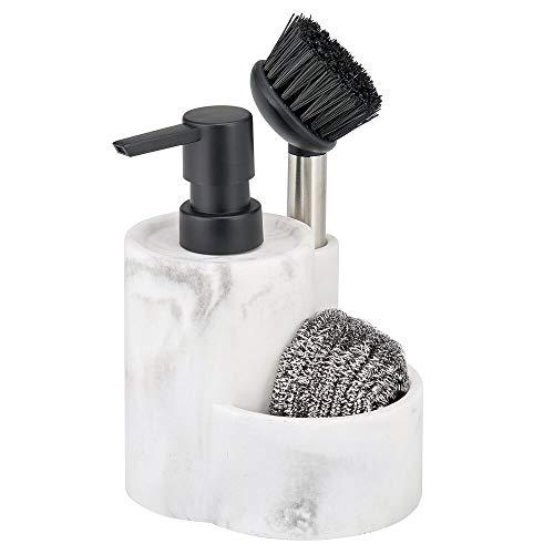 MDESIGN Geschirrspül-Set – praktischer Spülmittelspender & Bürste in modernem Design – Seifenspender nachfüllbar mit Halter für Schwamm oder Topfkratzer – marmorfarben