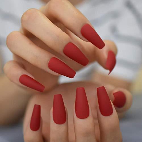 CSCH Uñas postizas Piedras diseñadas Presione en las uñas Ataúd de uñas de arte falso rojo y dorado largo para fiesta con grifos adhesivos 24 piezas