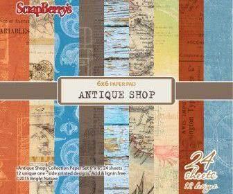 Papier-Set (24pcs) 170g / M2 - Antik-Shop, Scrapberrys, Papier, 15 x 15 Cm, Gedruckt, Scrapbooking