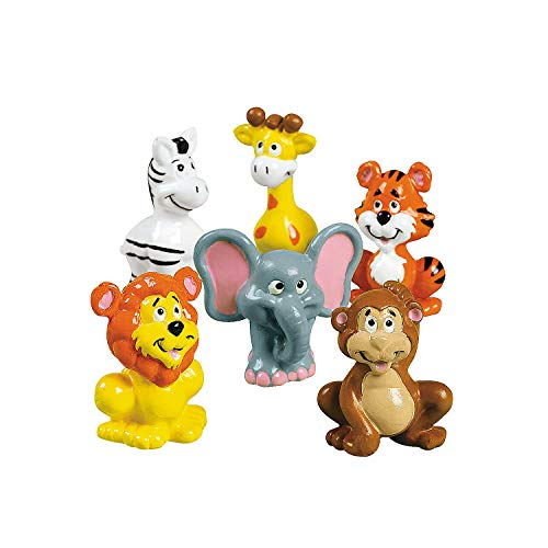 Zoo Animal Figure Toys - Includes zebras  giraffes  tigers  lions  elephants and monkeys - Set of 12 - Party Favors  Giveaways  Cake Toppers and Toys